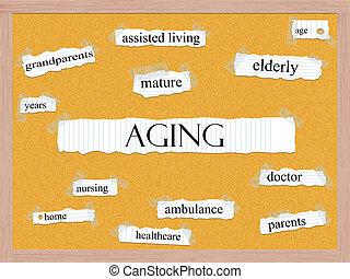envelhecimento, corkboard, palavra, conceito