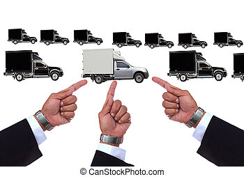 hand pointing to good truck  for transportation