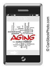 Aging Word Cloud Concept on Touchscreen Phone