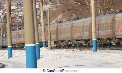 Railroad. Freight train in motion