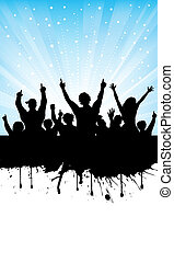 Excited audience - Silhouette of an excited audience on...