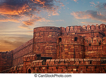 India, Agra Red Fort - Ancient fortress at sunset. India,...