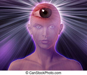 Third eye woman - Woman with third eye, psychic supernatural...