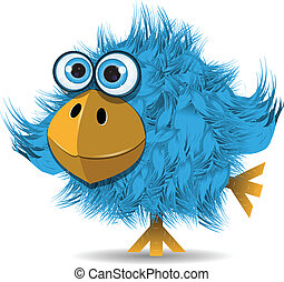 very funny blue bird - illustration, very funny blue bird...