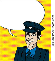 Pop Art cop - Comic style drawing of a police officer...