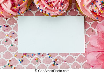top view of a empty placard with strawberry cupcake -...