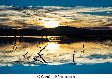 Desert Wetlands Sunset - Beautiful southwestern sunset over...