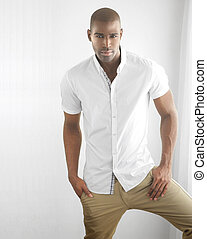 Casual male fashion - Studio portrait of a sexy male fashion...