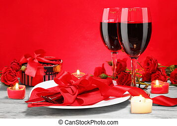 Romantic Candlelight Dinner for Two Lovers Concept...