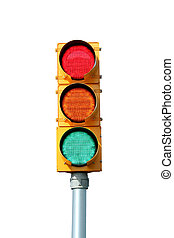 Isolated Traffic signal light on white