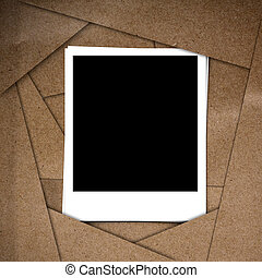 Photo frame on Brown abstract paper recycle background