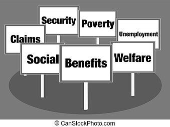 Benefits and welfare signs - Benefits and welfare concept...