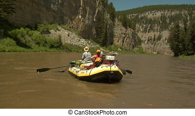 River rafts packed for camping