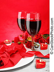 Romantic Candlelight Dinner for Two in Red - Romantic...