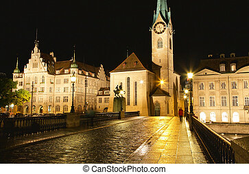 The night view of the Fraumunster in Zurich - The night view...