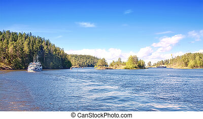 Valaam Island - Navigable strait between the islands Valaam...