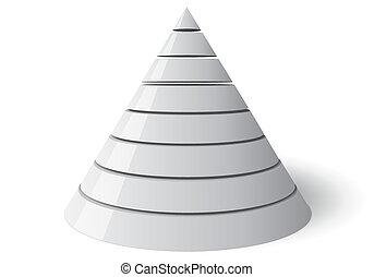 vettore, cono, otto, livelli, Vectorial, 3D, forma