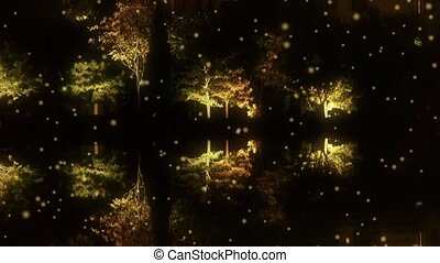 Woods reflection in calm water of lake.Such as mirror at dark evening night