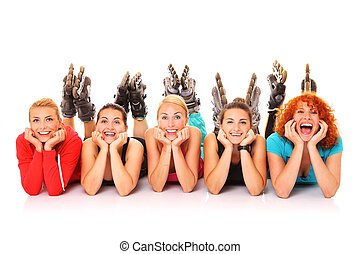 Roller blading - A picture of five girl friends resting over...