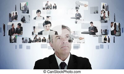 Businessman pondering various busin