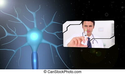 Montage of various medical workers against digital neuron...