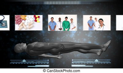 Montage of medical workers with revolving human figure...
