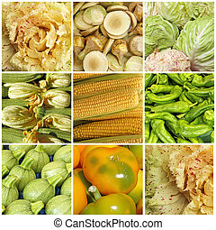 green and yellow vegetable collage