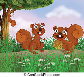 Smiling squirrels - Illustration of smiling squirrels