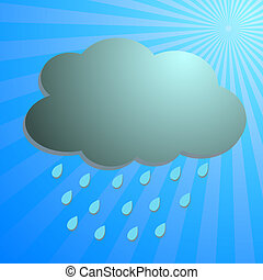 Clouds and rain drop with blue rays