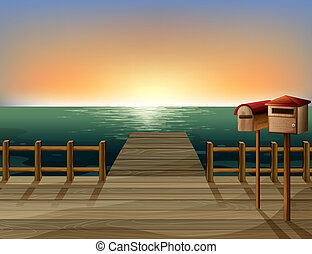 A letter box and a sea port - Illustration of a letter box...