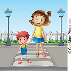 A little child and a girl crossing the pedestrian -...