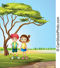 A girl and a boy near a big tree - Illustration of a girl...