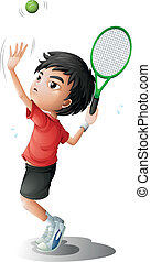 A boy playing tennis - Illustration of a boy playing tennis...