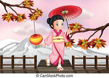 automne,  girl, japonaise, vue