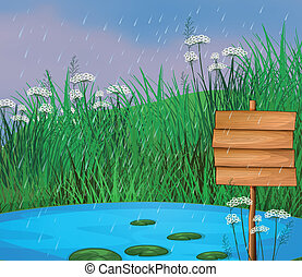 A pond and the wooden signboard - Illustration of a pond and...