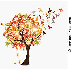 Autumn Tree - Autumun seasonal concept vector illustration...