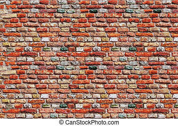 Weathered brick wall background - Facade view of the old...