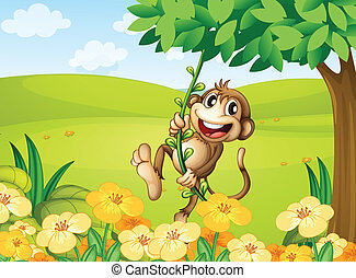 A monkey playing with the vine plant