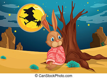 A rabbit beside a big trunk of a tree