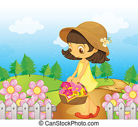 A girl collecting flowers - Illustration of a girl...