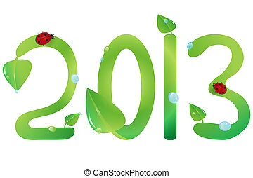 2013 with green leaves and ladybugs