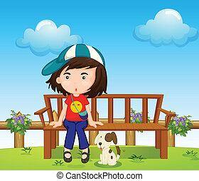 A girl and her pet at the park
