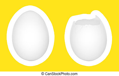 Eggs isolated on white with yellow background - Two eggs...