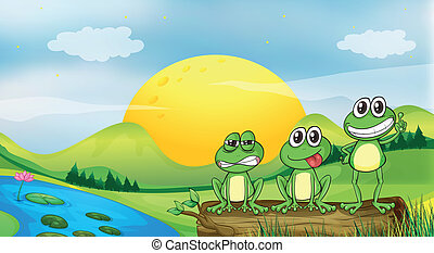 Three frogs at the riverbank - Illustration of three frogs...