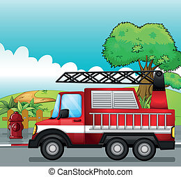 A fire engine - Illustration of a fire engine on a road