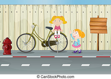 Kids, a bicycle, a fire hydrant and a notice board