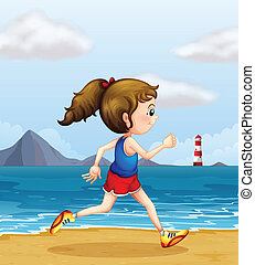 A girl jogging at the beach - Illustration of a girl jogging...