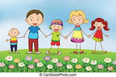 A family in the garden