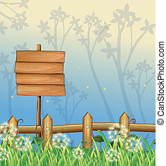 An empty wooden signboard in the woods - Illustration of an...