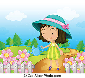 A girl watering the flowers - Illustration of a girl...